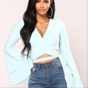 Fashion nova crop wrap top with bell sleeves